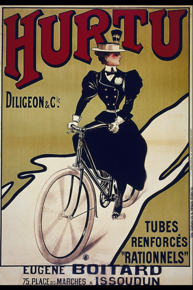 Retro grafika, vintage grafika, plakat, rower, miniona epoka