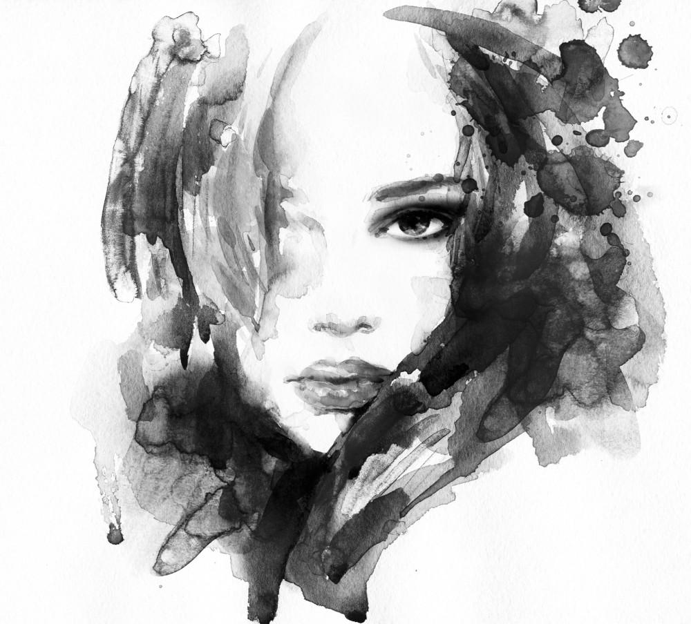 Malowana twarz kobiety - czerń i biel